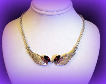 50% SALE..Purple Angel Wing Necklace..February Birthstone Necklace..Angel Wing Jewelry..Silver Wing Necklace..Purple Jewelry..Gifts Under 10