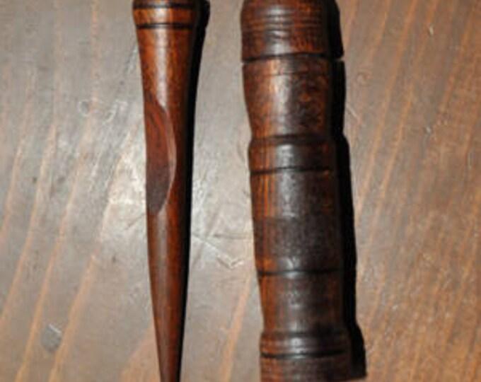 Hand made made from  mahogany wood Mini stitch lay helper tool plus mahogany needle case