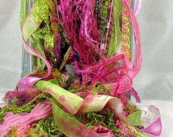 Pink Orchid Elements 26yds Bright Pastels Embellishment Trim Mixed Media Fibers Novelty Art Yarn Bundle, Fuchsia Pink Spring Green