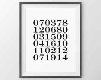 Special Dates Print, Custom Gift, Birthday Keepsake Decor, birth dates print, keepsake gift, custom dates print, anniversary gift