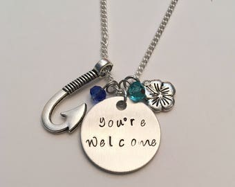 You're Welcome Moana Maui Disney Inspired Stamped Charm Necklace