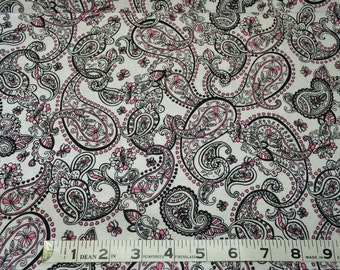 Item 155,  Freshly Modern by M'Liss, Black and Pink Paisley, !00% Cotton, By The Yard
