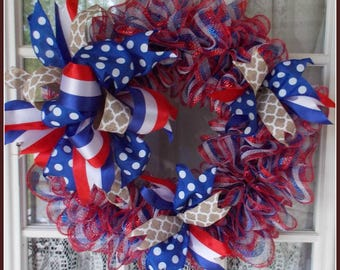 4th of July Wreath,Decorate Yourself Wreath, Patriotic Wreath, Patriotic Decor, Front Door Decor, Welcome Wreath, Red-White&Blue Wreath