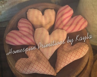 Primitive Pink Grubby Hearts Bowl Fillers