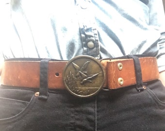 1970s Harley Davidson Leather Belt Motorcycle with vintsge metal belt size small medium 38 and a half inches total lenght retro biker belt