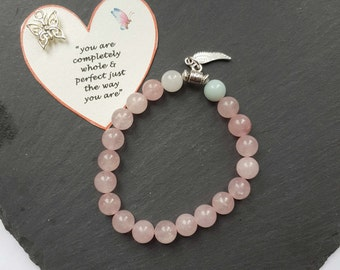 A Rose Quartz, Amazonite and White Jade Eating Disorder Recovery, Angel Wing Charm Gemstone Bracelet/Eating Disorder Recovery Jewellery