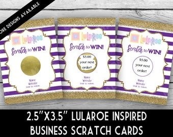 LuLaRoe BUSINESS SCRATCH OFF Cards - Stripes/Glitter, Direct Sales Inspired, Professional,Business Stationery, Marketing, Scratch Cards