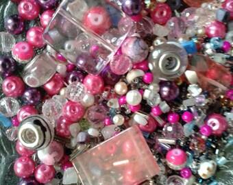 Mixed Girls Bead Lot Tween Teen Pink Purple Destash Bead Lot Girl Bead Soup