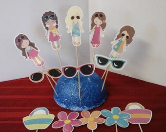 Fashion Girl Cake toppers..Fashion Girl Cupcake Toppers ..Set of 12... Choice of one side or two sided pick