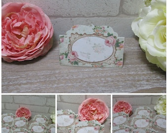 8 Shabby Chic Floral Blank  Table Name Place Tent Cards Decoration,Wedding,Tea Party