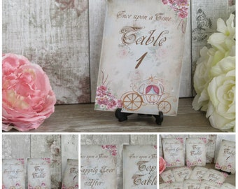 Shabby Chic Fairytale Carriage Table Numbers Top Table Favor Wedding,Tea Party