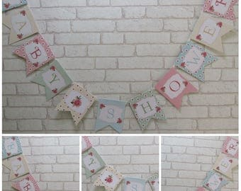 Shabby Chic Baby Shower Bunting Banner - Party Decoration,Baby,