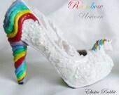 Rainbow Unicorn Sequin Heels Lace Fabric Custom Heel Ribbon White Shoe Size 3 4 5 6 7 8 Wedding Bridal Women floral Horse Fantasy Sparkly