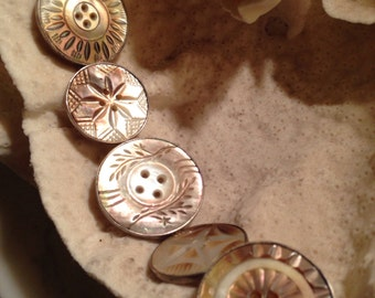 Lovely sterling carved mother of pearl button bracelet