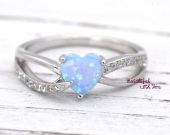 Heart Opal Ring, Opal Heart Ring, Heart Cut Opal Ring, Opal Heart Shaped Rings, Lab Created Light Blue Opal Sterling Silver Promise Rings