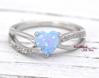 Heart Opal Ring, Opal Heart Ring, Heart Cut Opal Ring, Opal Heart Shaped Rings, Lab Created Light Blue Opal Sterling Silver Promise Rings