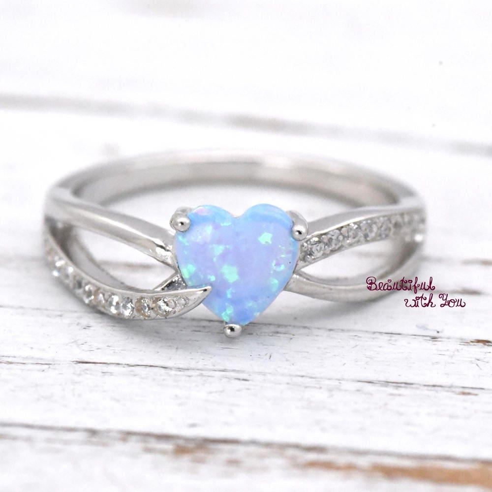 blue opal ring blue opal wedding rings Heart Opal Ring Opal Heart Ring Heart Cut Opal Ring Opal Heart Shaped Rings Lab Created Light Blue Opal Sterling Silver Promise Rings