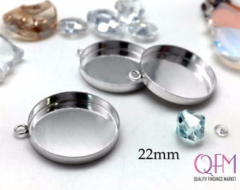 4 pcs Sterling Silver 925 Round Bezel cup 22mm with one loop - Jewelry Basis, Silver Pendant Basis, Silver Bezel Cup