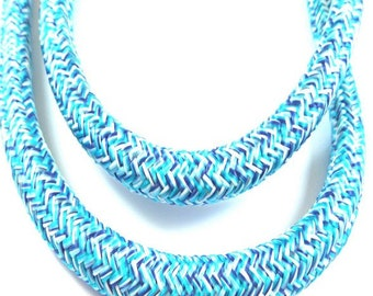 Blue turquoise white twisted braided rope 10mm per metre