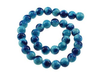 35 Jade 12mm beads blue and dark blue