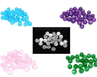 100 pearls in cracked glass 8mm - 5 color choices