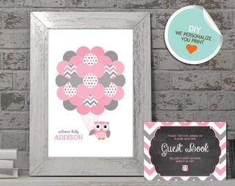 Owl Baby Shower Guest Book, Owl Guest Book, Pink, Gray, Chevron (Matches Chalkboard, Balloon) | DIY