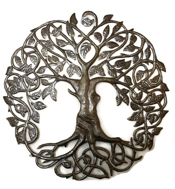 """Family Roots Tree of Life, Large Outdoor Wall Art, Recycled Metal Haiti, 33"""" X 33"""""""