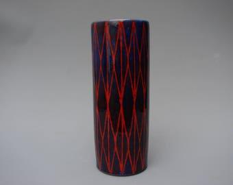 Gorgeous Wilhelm and Elly Kuch vase German Studio pottery Op art cylinder vase
