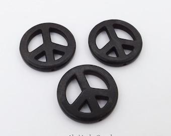 5 Black Magnesite Peace Signs 25MM Black Peace Sign Pendants