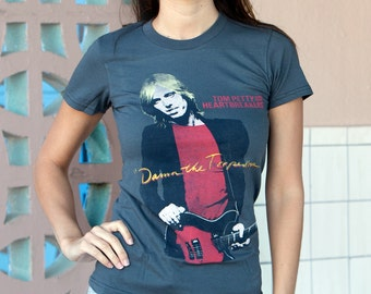 Tom Petty Damn The Torpedos (TMP0004-102CHR) Womens T-shirt. 70s bands, concert tees, free fallin, learning to fly, the heartbreakers