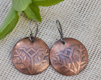 Ethnic tribal earrings, Tribal jewelry, Copper jewelry, Rustic copper earrings, Sterling silver ear wires Handmade dangle earrings Primitive