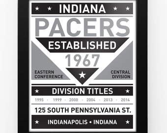 Indiana Pacers Black & White Modern Team Print Framed