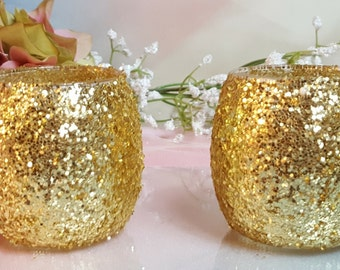 12/ Gold Glitter Hurricane Glass Vase or Votive Candle Holder for Weddings, Parties, Gold Glam, Receptions, Table Centerpiece ~ 12 ~ p/o