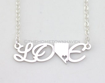 Nevada Love Necklace, I heart Nevada necklace, Love necklace