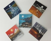 MOON themed Greetings Cards - pack of five from original artwork by printmaker Sarah Ross-Thompson