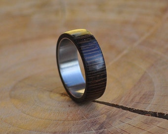 Stainless Steel Ring for Women and Men with Wenge Wood Inlay