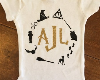 Harry Potter monogram personalized baby bodysuit