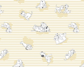 Disney 101 Dalmatians Fabric Yellow Clouds & Stripes Camelot Cotton BTY