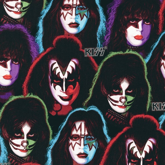 Kiss Band Faces: KISS Fabric Gene Simmons 70's 80's Rock Band Kaufman