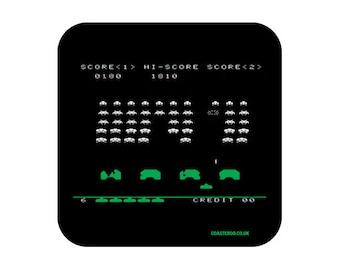 "NOVELTY Drinks Coaster ""Space Invaders"" - Hardboard / Gloss Finish - Retro gaming screenshot design"