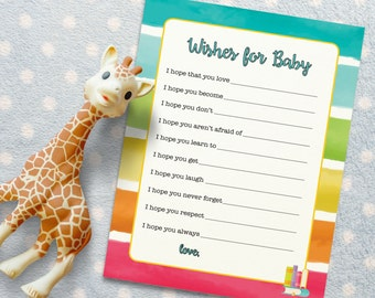 Wishes for Baby Baby Shower Activity for Rainbow Book Themed Baby Shower. Baby Shower Game/ Baby Shower Activity. DIGITAL DOWNLOAD*