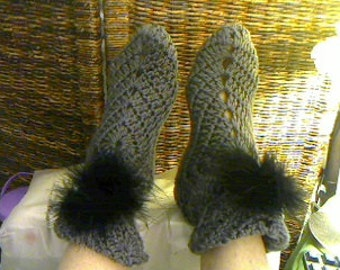 Crochet Slippers with pompom, or pearl, etc