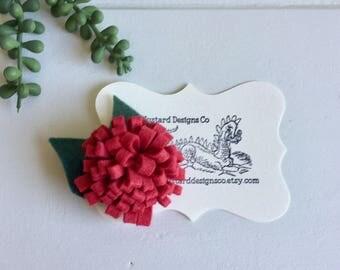 Felt flower hair clip- felt flower barrett