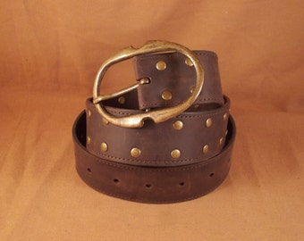 FREE SHIPPING! Handmade brown leather belt with large brass buckle