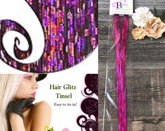 Hair Tinsel Fuchsia Color, Glittery Fuchsia Hair Extensions. Shiny Hair Tinsel, Hair Glitter Fuchsia, Sparkle Tinsel