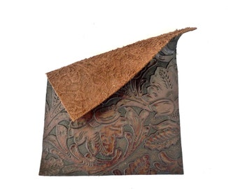 """Embossed Brown Genuine Leather Piece, Leather Scrap, Size 10"""" by 8"""", Leather craft supply"""
