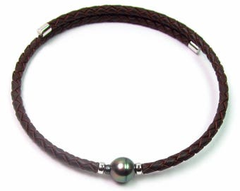 "16"" Authentic 10mm Tahitian Black Pearl Memory Wire Necklace W/ 5mm Braided Leather"