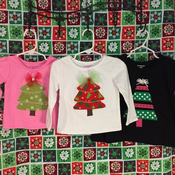 Christmas Tree appliqué top baby & toddler girls  SALE 50% off
