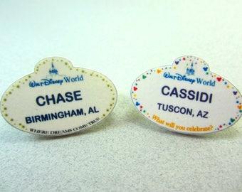 Customized Disney World Name Tag, Disney World Lapel Pin, Disney World Badge, Disney World Button