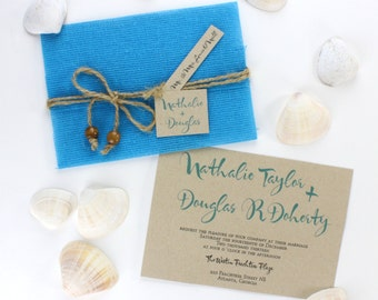 Beach Invitations, Turquoise, Beach Wedding, Destination Invitation, Wedding Invitations, Beach Invites, Turquoise Invites l ON SANDY SHORES